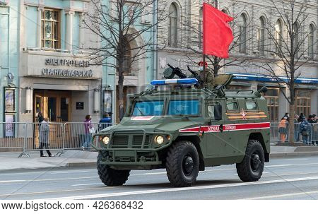 April 30, 2021 Moscow, Russia. Tiger Armored Car Of The Russian Military Police On Tverskaya Street