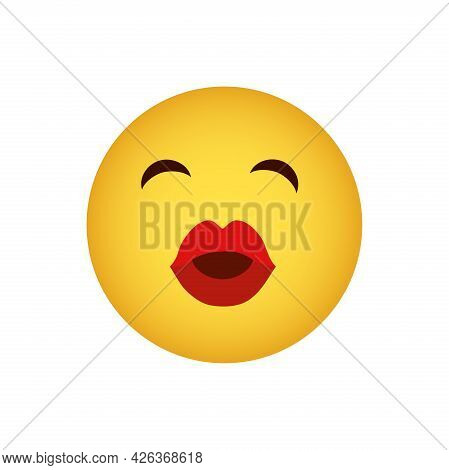 A Kiss. Love Emoticon With Lips Sending A Kiss, Vector Icon Yellow Face With Red Lips Isolated On A