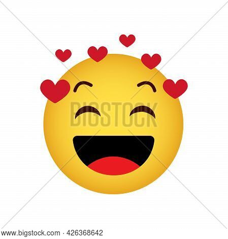 Love. Love Emoticon With Hearts, Happy Yellow Face On A White Background, Vector Icon