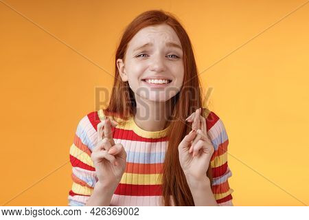 Attractive Redhead Hopeful Girl Anticipating Good News Excitement Thrill Cross Fingers Good Luck Smi