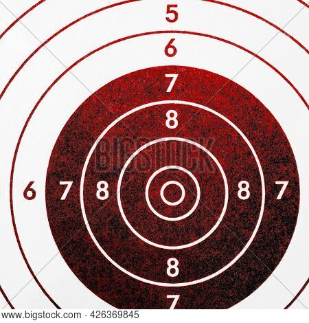 Target For Shooting, Tinted In Blood Red And Black. Square Illustration On The Theme Of Crime And Mi