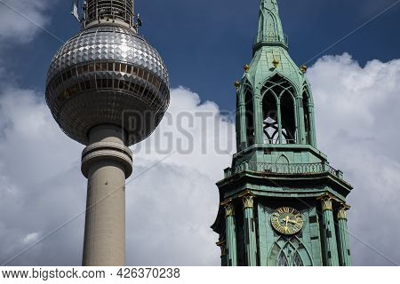 13 May 2019 Berlin, Germany -  St. Marienkirche Berlin or St. Mary's Church, one of the oldest churc