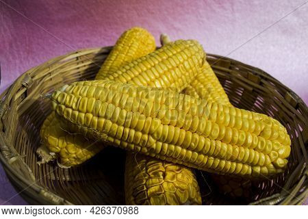 Heap Of Corncob Also Called Cob Of Corn Also Knwn As Maize Whole Vegetable Harvested And Put In Wick