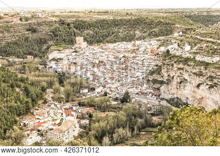 Views Of The Village Of Alcala Del Jucar In The Morning From The Viewpoint In Spring