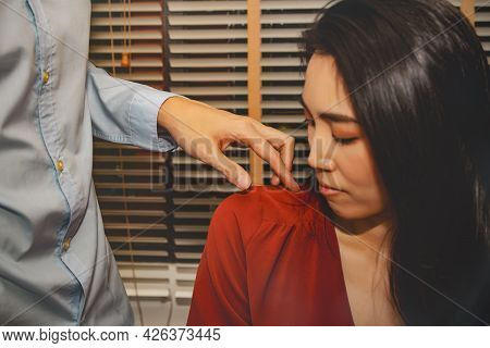 Concept Harassment Of Women In The Office : Unwanted Man's Hand Negative Behavior, Abuse Of Liberty,