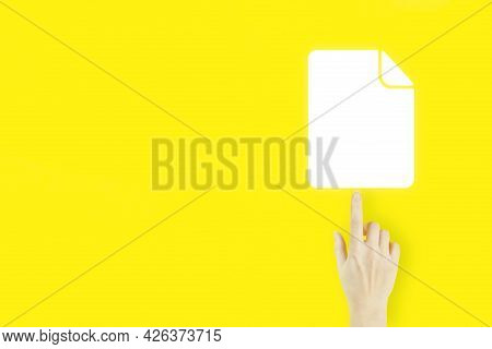 Document Management Data System. Young Woman's Hand Finger Pointing With Hologram Document Icon On Y