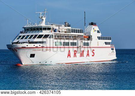 Playa Blanca, Lanzarote, Spain: April 28, 2019: Canary Islands Ferry Armas Sails Between Playa Blanc