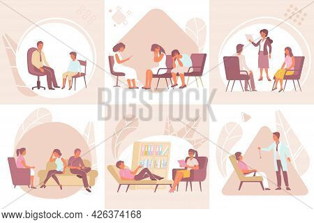 Flat Psychology Individual And Family Therapy Composition Set With Men Women Children Getting Psycho