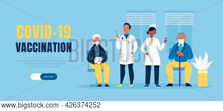 Flat Covid19 Vaccination Horizontal Banner With Doctors And Patients Vector Illustration