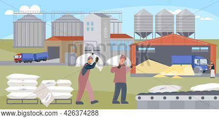 Workers Load Bags Of Flour Onto A Storage Conveyor Near The Mill Flat Vector Illustration