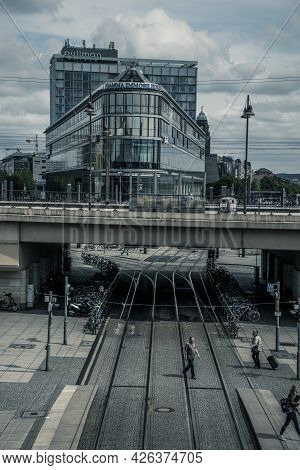 21 May 2019 Dresden, Germany - Dresden Hauptbahnhof - The Main Railway Station. Street Views From Ou