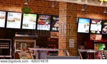 Warsaw, Poland. 9 July 2021. Front Entrance To Subway Restaurant. Subway Restaurant Is One Of The Fa