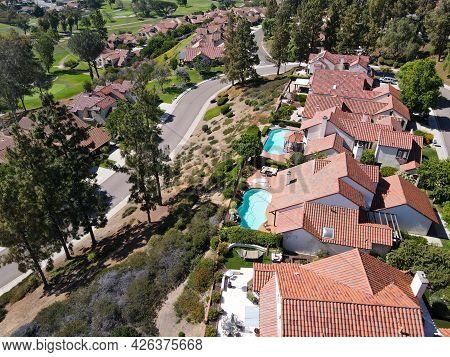 Aerial View Of Residential Neighborhood With Villas And Swimming Pool In Rancho Bernardo, San Diego