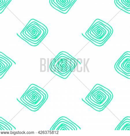 Vector Seamless Pattern Of A Square-shaped Spiral With Rounded Edges Of Bright Green Color, Hand-dra