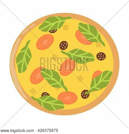 Realistic Pizza With Pepperoni And Different Types Of Sauces And Cheese - Vector Illustration