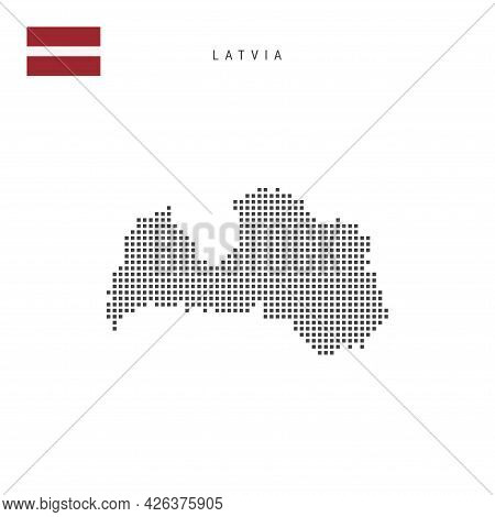 Square Dots Pattern Map Of Latvia. Latvian Dotted Pixel Map With National Flag Isolated On White Bac