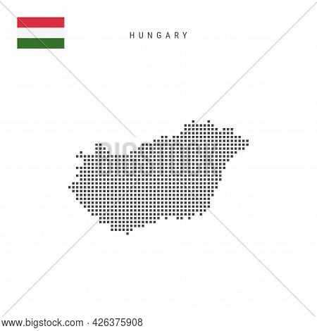 Square Dots Pattern Map Of Hungary. Hungarian Dotted Pixel Map With National Flag Isolated On White