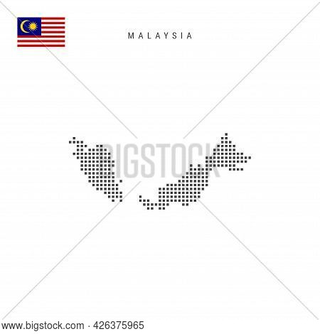 Square Dots Pattern Map Of Malaysia. Malaysian Dotted Pixel Map With National Flag Isolated On White