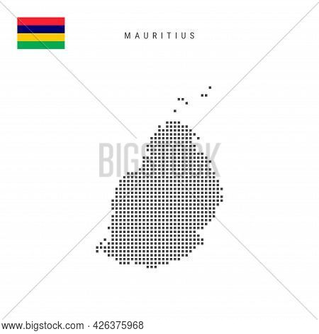 Square Dots Pattern Map Of Mauritius. Mauritian Dotted Pixel Map With National Flag Isolated On Whit