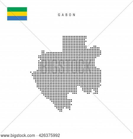 Square Dots Pattern Map Of Gabon. Gabonese Dotted Pixel Map With National Flag Isolated On White Bac