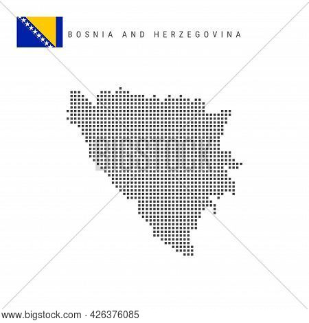 Square Dots Pattern Map Of Bosnia And Herzegovina. Bosnian Dotted Pixel Map With National Flag Isola