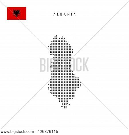 Square Dots Pattern Map Of Albania. Albanian Dotted Pixel Map With National Flag Isolated On White B