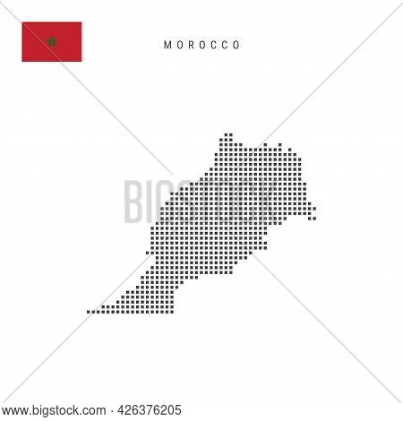 Square Dots Pattern Map Of Morocco. Moroccan Dotted Pixel Map With National Flag Isolated On White B