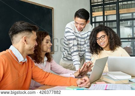 Four Diverse Multiracial Young Happy Cheerful Coworkers Business Startup Gen Z Creative Team Student