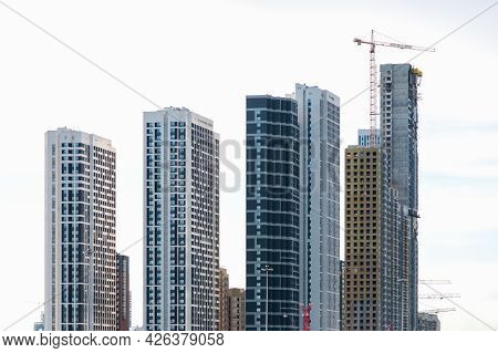 View Of Several Contemporary Highrise Buildings Under Construction