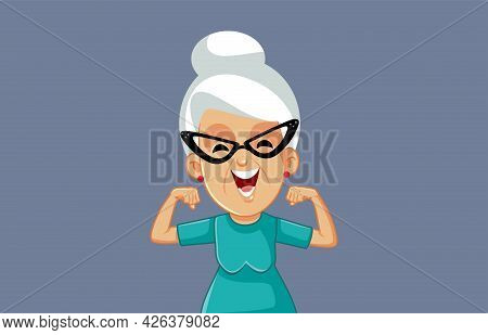 Happy Cheerful Strong Grandma Vector Cartoon Illustration