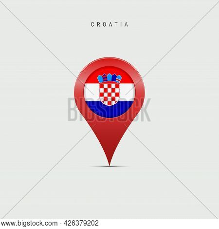 Teardrop Map Marker With Flag Of Croatia. Croatian Flag Inserted In The Location Map Pin. Vector Ill