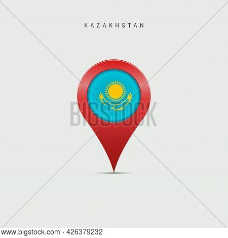 Teardrop Map Marker With Flag Of Kazakhstan. Kazakh Flag Inserted In The Location Map Pin. Vector Il