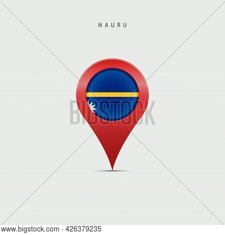Teardrop Map Marker With Flag Of Nauru. Nauruan Flag Inserted In The Location Map Pin. Vector Illust