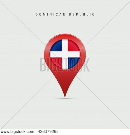 Teardrop Map Marker With Flag Of Dominican Republic. Republica Dominicana Flag Inserted In The Locat