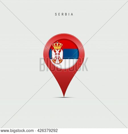 Teardrop Map Marker With Flag Of Serbia. Serbian Flag Inserted In The Location Map Pin. Vector Illus