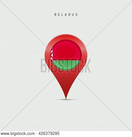 Teardrop Map Marker With Flag Of Belarus. Belorussian Flag Inserted In The Location Map Pin. Vector