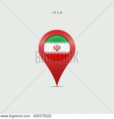 Teardrop Map Marker With Flag Of Iran. Iranian Flag Inserted In The Location Map Pin. Vector Illustr