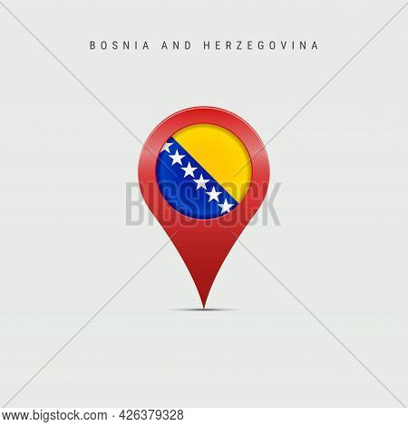 Teardrop Map Marker With Flag Of Bosnia And Herzegovina. Bosnian Flag Inserted In The Location Map P