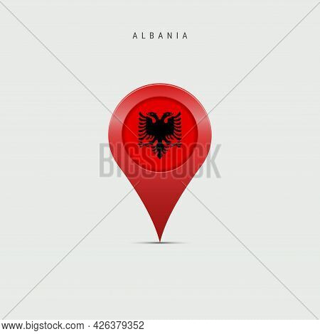 Teardrop Map Marker With Flag Of Albania. Albanian Flag Inserted In The Location Map Pin. Vector Ill