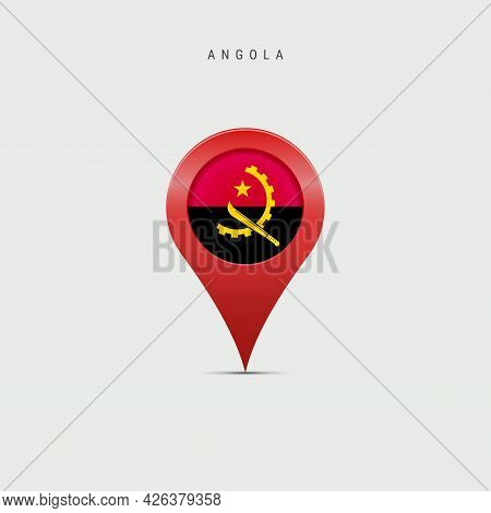Teardrop Map Marker With Flag Of Angola. Angolan Flag Inserted In The Location Map Pin. Vector Illus
