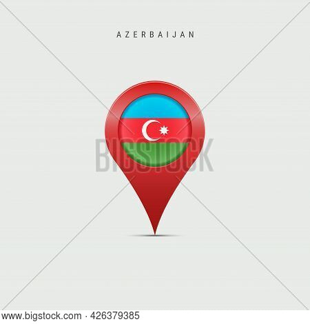 Teardrop Map Marker With Flag Of Azerbaijan. Azerbaijani Flag Inserted In The Location Map Pin. Vect