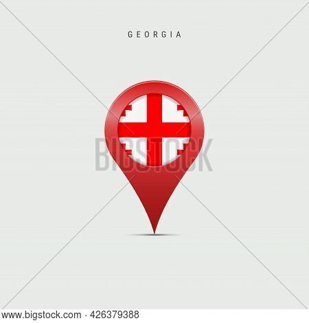 Teardrop Map Marker With Flag Of Georgia. Georgian Flag Inserted In The Location Map Pin. Vector Ill