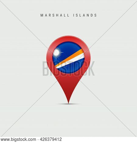 Teardrop Map Marker With Flag Of Marshall Islands. Marshallese Flag Inserted In The Location Map Pin