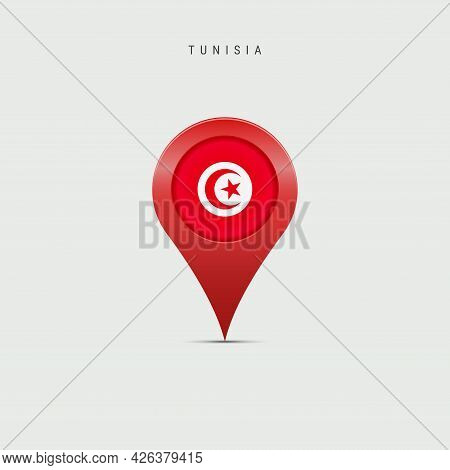 Teardrop Map Marker With Flag Of Tunisia. Tunisian Flag Inserted In The Location Map Pin. Vector Ill