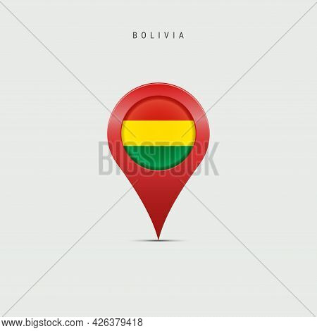Teardrop Map Marker With Flag Of Bolivia. Bolivian Flag Inserted In The Location Map Pin. Vector Ill