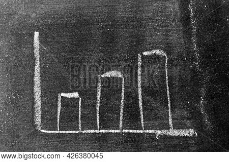 White Color Chalk Drawing As Upward Bar Graph On Blackboard Or Chalkboard Background (concept For Sa