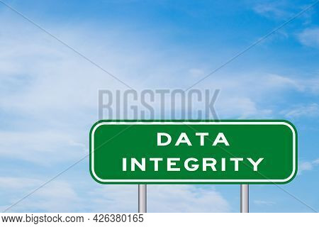 Green Transportation Sign With Word Data Integrity On Blue Sky Background