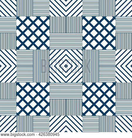 Seamless Geometric Pattern In Japanese Style. Blue On White Background. Japanese Traditional Used Fo
