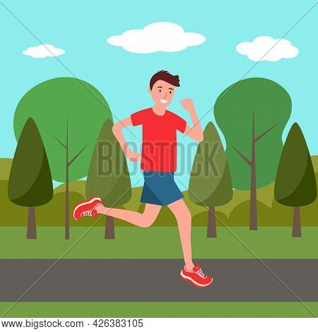 Man Running In A Park For Good Health In Flat Design. Sporty Guy Exercise By Daily Jogging.