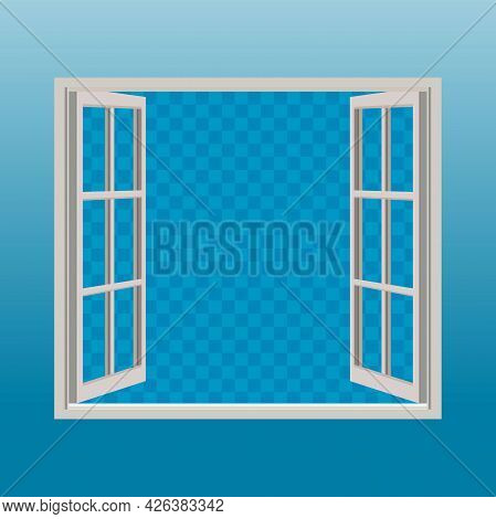 Open Window With Blank Transparent Background Illustration Design, White Wooden Open Window Template